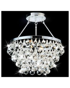 This sleek chrome semi flushmount chandelier blends modern with classic to create a piece that adds style to any room. The sparkling crystal shade is both beautiful and functional while five bulbs to provide ample lighting to your home.