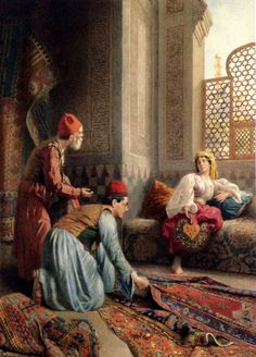 Francesco Ballesio The Carpet Sellers painting is shipped worldwide,including stretched canvas and framed art.This Francesco Ballesio The Carpet Sellers painting is available at custom size. Classic Paintings, Beautiful Paintings, Empire Ottoman, Middle Eastern Art, Arabian Art, Turkish Art, Italian Painters, Arabian Nights, Art Plastique