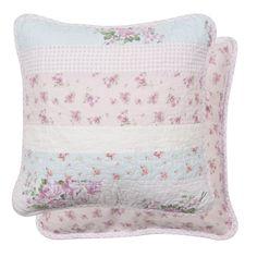 Kussenhoes met met roze en blauw roosjes 40 x 40 cm - 8717459394926 - Avantius