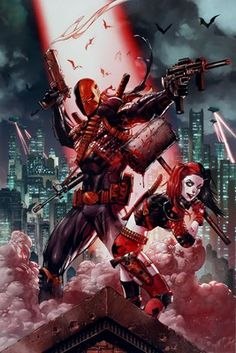 Lock your doors and prepare for the onslaught of these DC Comics villains! Wielding a hammer, Harley Quinn joins a fierce looking Deathstroke on this awesome Suicide Squad poster. Being hunted is the norm for this deadly duo and this design sees them getting ready for battle as a group of bats circle above. Official merchandise.