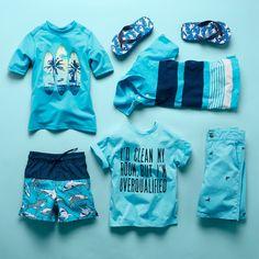 Boys' fashion | Kids' clothes | Graphic rashguard  Graphic tee | Swim trunks | Printed woven shorts | Stripe jersey polo | Flip flops | The Children's Place
