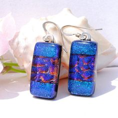 Aqua & Purple Earrings, Dichroic Glass, Fused Glass Jewelry, Dangle, Indigo Blue, Rich Colors (Item 30157-E). $18.00, via Etsy.