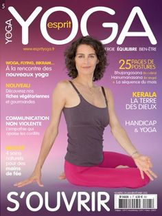 Elena Bower on the cover of Esprit Yoga magazine wearing Lolë.     Pose Top and Glorious Pants.