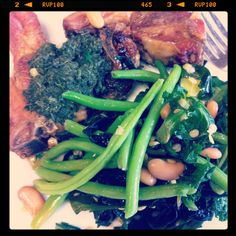 Roast lamb chops, mint sauce, green beans, spinach, Wakame, mixed beans, lentils