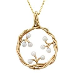 Designer Yellow Gold Willow Pearl Pendant  http://www.londonroadjewellery.co.uk/9-carat-yellow-gold-willow-pearl-pendant-necklace-1222