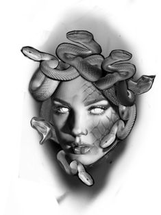 Medusa Tattoo Design, Clock Tattoo Design, Tattoo Design Drawings, Tattoo Sleeve Designs, Sleeve Tattoos, Realistic Tattoo Sleeve, Mangas Tattoo, Medusa Art, Girl Face Tattoo