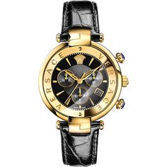 VERSACE VAJ04 0016 leather and gold-toned watch ($1,500) ❤ liked on Polyvore featuring jewelry, watches, leather wrist watch, dial watches, engraving watches, versace jewelry and chrono watch