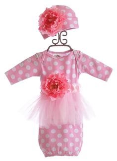 She Bloom Pink Polka Dot Infant Gown and Hat $72.00