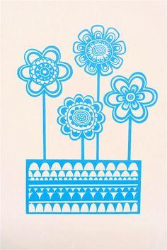 Blue Scandinavian flower screen print Swedish by Janefoster