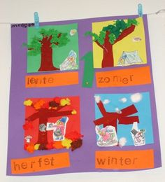 seizoenskalender Diy For Kids, Crafts For Kids, Arts And Crafts, Preschool Themes, Botany, Alphabet, Seasons, Teaching, Logos