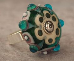 Teal and Ivory Lampwork Mandala Ring, Green and White Mandala Wheel Glass Ring, Green and White Big Hole Bead Ring, Green White Flower Ring by LaSistaBeads on Etsy