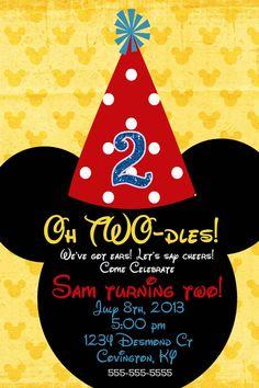 Mickey Mouse Custom Birthday Invitation 2 designs