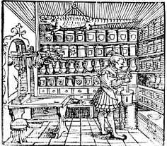 """Interior of apothecary shop, 1537.  Woodcut of an apothecary shop from """"Thesaurus Pauperum,"""" written by Hieronymus Brunschwig, a surgeon, alchemist, and botanist. NLM Image ID: A030275. #colorourcollections Download the NLM coloring book featuring Images from the History of Medicine."""