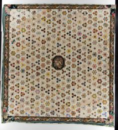 "Hexagon Mosaic; IQSC; 93"" x 98""; 1820-1840; English paper pieced, cotton, hand applique, hand whipped; binding - edges turned in; made in United Kingdom"