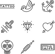 Tattoo Icon Set by Javier Sánchez, via Behance Line Design, Icon Design, Design Art, Graphic Design, Cute Designs, Designs To Draw, St Logo, Icon Tattoo, Minimal Tattoo