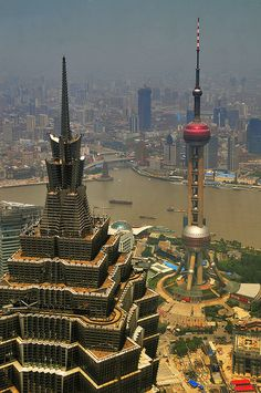 Jinmao Tower on the left & Oriental Pearl Tower on the right in Pudong District, Shanghai. City Aesthetic, Travel Aesthetic, Chinese Architecture, Amazing Architecture, Shanghai City, Visit Shanghai, Beijing, The Places Youll Go, Places To Go