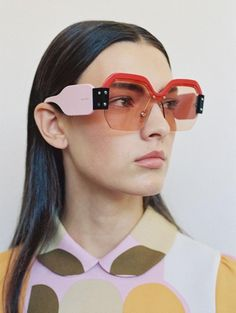 miu miu campaign Miu Miu Red New Sorbet P - campaign Funky Glasses, Cool Glasses, Stylish Sunglasses, Sunglasses Sale, Luxury Sunglasses, Miu Miu Sunglasses 2017, Festival Sunglasses, Look Fashion, Trendy Fashion