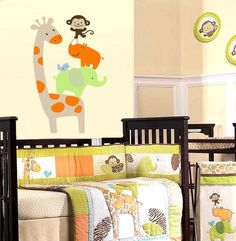 Stacked Giraffe Elephant Monkey Bird - Vinyl Wall Decal