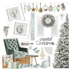 """""""Coastal Christmas: Sea Foam"""" by theseapearl ❤ liked on Polyvore featuring interior, interiors, interior design, home, home decor, interior decorating, Williams-Sonoma, Anthropologie, Wall Pops! and Home Decorators Collection"""