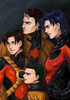 Youngest to oldest- Damian Wayne(AL-Ghaul), Tim Drake, Jason Todd, Dick Grayson(Counter-clockwise)