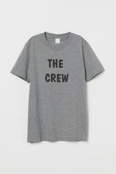 Short-sleeved Parent's Shirt - Gray melange/The Crew - Men White Vest Top, Black Vest, S Shirt, Neck T Shirt, H&m Shorts, Long Sleeve Polo, Fashion Company, Sleeve Styles, Crew Neck