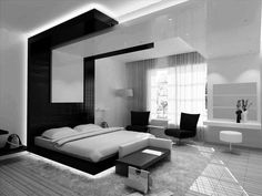 Stunning Modern Bedroom Black Color With Wooden Flooring Unfinished Plus Bedroom Bench Covered With Leather White Curtain And Black Sofa modern bedroom interior designs gallery with modern furniture dark theme Bedroom design Bedroom Design 2017, White Bedroom Design, Master Bedroom Interior, Modern Bedroom Decor, Contemporary Bedroom, Bedroom Ideas, Bedroom Designs, Modern Bedrooms, Ikea Bedroom