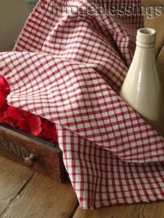 Lovely! Red & Off White Check Antique FRENCH Linen 39x15 Make Pillows