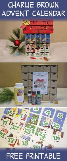 Charlie Brown Advent Calendar | Chica & Jo   Created with Americana Multi-Surface Acrylics and Americana Decou-Page