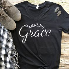 Amazing Grace T-Shirt DAP , This t-shirt is Made To Order, one by one printed so we can control the quality. Vinyl Shirts, Mom Shirts, T Shirts For Women, Funny Shirts, Christian Shirts, Christian Clothing, Christian Apparel, Christian Women, Jesus Shirts