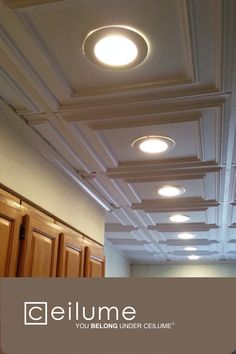 Ceilume ceiling tiles are beautiful, lightweight, and easy to install and clean. With a variety of colors and designs, there is a tile for any design aesthetic. These ceiling tiles are a great option for any DIY remodel or upgrade. #ceilingtiles #diyceilingdiy #roomdecor #basementremodel #easyceiling #ceilume #farmhouse #basement #ceilings #homeaccessories #homeaccents #diyprojects #aesthetic #diningroom