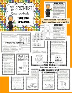 Marie Curie Create-a-Book mini biography and follow up activities. Grades 2-6 Science Activities For Kids, Science Lessons, Teaching Science, Science Resources, Marie Curie For Kids, Marie Curie Scientist, Scientist Albert Einstein, Interactive Journals, 1st Grade Science