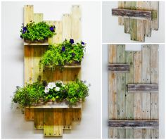 #DIY, #Hanging, #Planter, #RecycledPallet, #Wall, #Wood