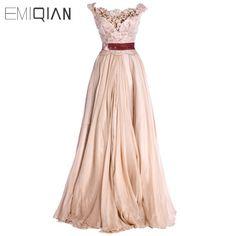 New A line Cap Sleeve Red Sash Chiffon Evening Dresses Fashion #Affiliate