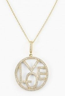 "Eleganza D'Oro  14K Gold-Plated Sterling Silver Pave ""Love"" Necklace"