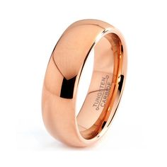 Mens Tungsten Carbide Wedding Band Ring 7mm 14k Rose Gold Plated Domed High Polished 5-15 Half Sizes Traditional Comfort Fit Custom Engraved on Etsy, $44.77