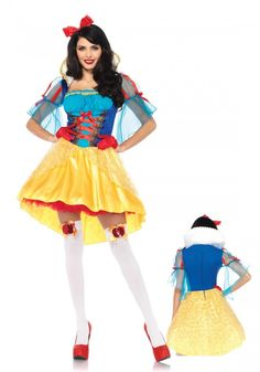 Storybook Snow White - 2 PC. Storybook Snow White , includes velvet and satin high/low dress with sheer renaissance sleeves, gold trimmed glitter bodice with venice lace accent, and matching hair bow. (Stocks not included)