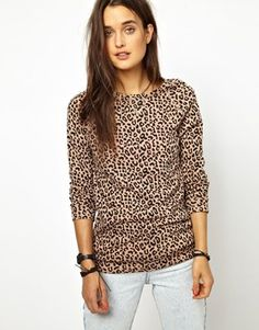 Image 1 of Obey Leopard Print Sweatshirt Leopard Pullover, Leopard Sweater, Outfit Of The Day, What To Wear, Asos, Ootd, Sweatshirts, Blouse, Sweaters