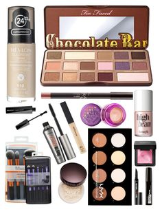 """""""Favs"""" by rubybrown18 ❤ liked on Polyvore featuring beauty, Revlon, Too Faced Cosmetics, Benefit, Maybelline, NYX and Laura Mercier"""