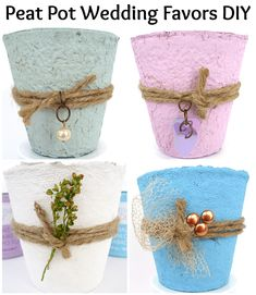 Beautiful Peat Pot Wedding Favors - easy DIY with lots of helpful pictures plus a video! Painted with chalk paint, these can match your wedding decor colors perfectly! #peatpots #diyweddingfavors #diywedding #diyweddingdecor