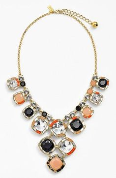 The color combo is perfect! Tan, black and clear crystal statement necklace by Kate Spade.