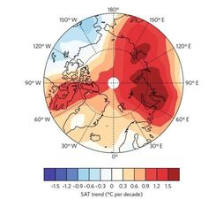 The researchers used the newly reconstructed surface air temperature data to make this graphic, which shows the spatial distribution of the Arctic annual warming rate from 1998 to 2012.
