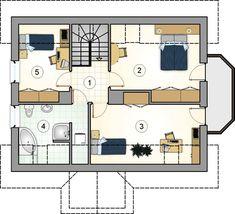Projekt domu AT Rumiankowa Chata Bis CE - DOM - gotowy koszt budowy Floor Plans, Arquitetura, Two Story Houses, Floor Plan Drawing, House Floor Plans