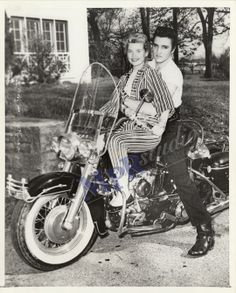 Original, scanned photographic print of Elvis Presley with his girlfriend on motorcycle.