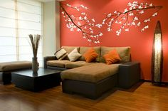 cherry blossoms, Wall Decal, Sticker, Vinyl, Decor, Stylish, Wall cornerback, cherry tree, Flower, Branches, Bough - J00015 on Etsy, $99.95 awesome living room