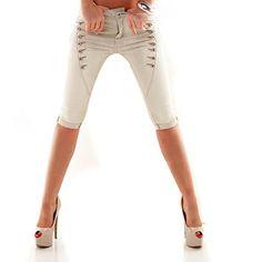 MOZZAAR Damen Jeanshose Röhrenjeans Hüftjeans Jeans Shorts kurze Hose Pants Caprijeans Capri Bermuda Skinny Button XS-XL