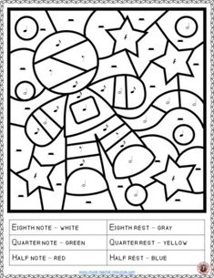 Music lessons | Music Coloring Pages: 15 SPACE Themed color by music notes and rests #musiceducation