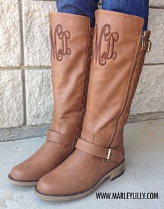 Monogrammed Cognac Buckle Riding Boot