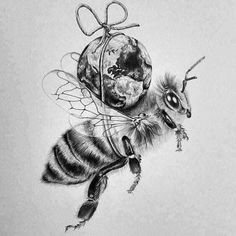 Do not use any pesticides, fungicides or herbicides on plants or in your garden. Plants get contaminated and the product will likely reach the bees and kill them. Make sure the plants you buy are not pre-treated with neonics pesticides! Erde Tattoo, Art Sketches, Art Drawings, Tattoo Sketches, Bee Safe, Bee News, Wild Bees, Bee Do, Bee Friendly