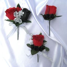 Boutonnieres # Corsages in black, red & silver  ... Wedding ideas for brides & bridesmaids, grooms & groomsmen, parents & planners ... https://itunes.apple.com/us/app/the-gold-wedding-planner/id498112599?ls=1=8 … plus how to organise an entire wedding, without overspending ♥ The Gold Wedding Planner iPhone App ♥
