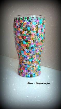 Vaso in vetro con decorazione in fimo a murrine colorate, by Chiara - Creazioni in fimo, 50,00 € su misshobby.com
